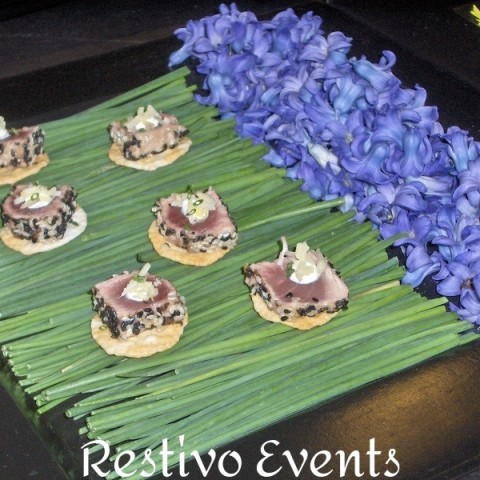 f19 - Seared Tuna on Crispy Rice Crackers with Wasabi Creme Fraiche & Pink Ginger Pickle